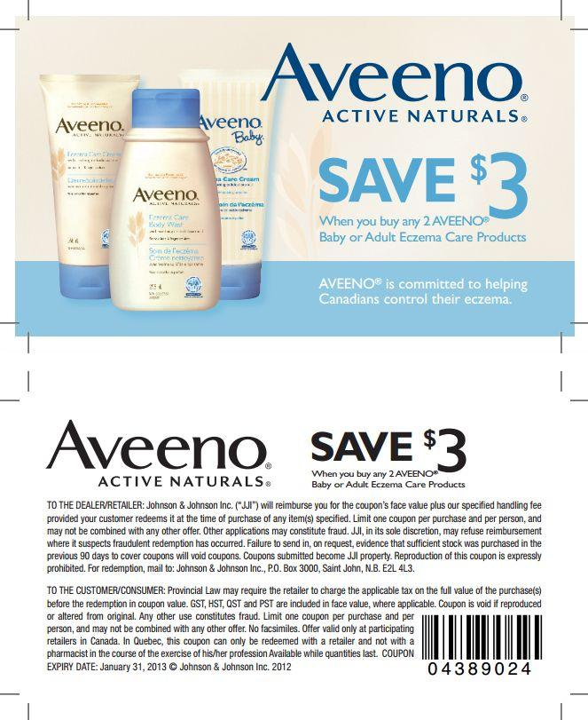 Aveeno manufacturer coupon 2018