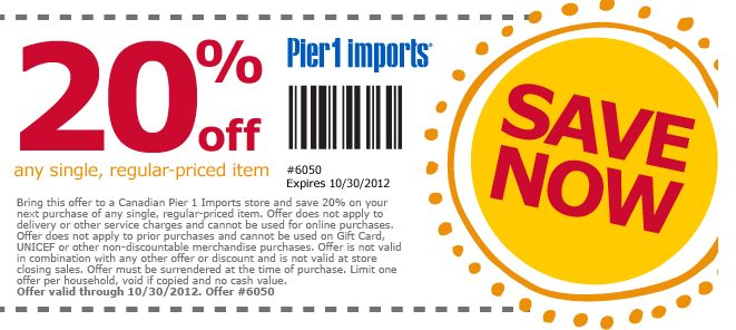 Pier one coupons store