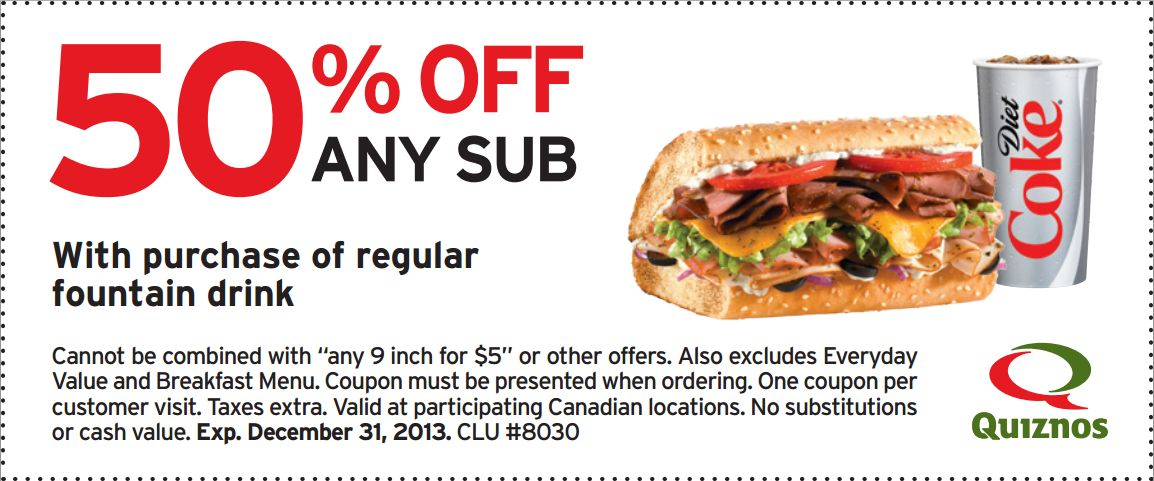 graphic regarding Quizno Printable Coupons identify Quiznos - Info